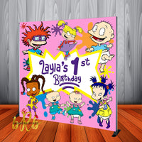 Rugrats Birthday Party Pink Backdrop Personalized - Designed, Printed & Shipped!