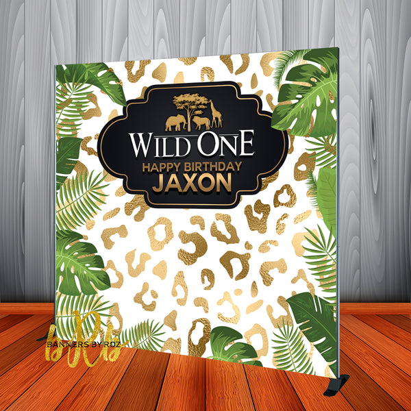 Wild One Safari theme Birthday Backdrop Personalized for 1st Birthday - Designed, Printed & Shipped!