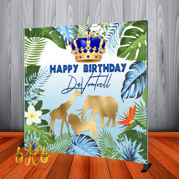Blue Prince Safari theme Birthday Party Backdrop Personalized for Baby Shower or Birthday - Designed, Printed & Shipped!