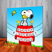 Snoopy Birthday Backdrop Personalized Step & Repeat - Designed, Printed & Shipped!