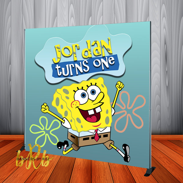 Sponge Bob Birthday Backdrop Personalized Step & Repeat - Designed, Printed & Shipped!