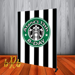 Starbucks theme Backdrop for Birthday Party or Coffee Event - Step & Repeat - Designed, Printed & Shipped!