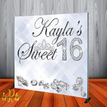 White Diamonds Backdrop for Sweet 16 Birthday, Weddings, Quinceanera or any Special Event Designed, Printed & Shipped!