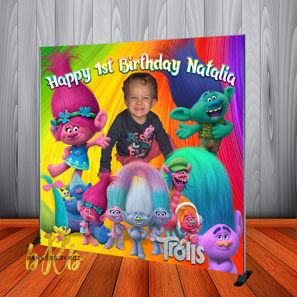 Trolls Birthday Party Backdrop Personalized Step & Repeat - Designed, Printed & Shipped!