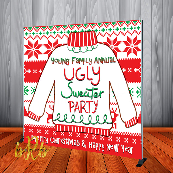 Ugly Sweater Christmas Party Backdrop - Personalized, Printed and Shipped!