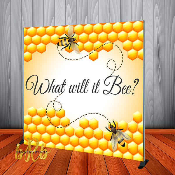 What Will it Bee -  Gender Reveal Backdrop Personalized Step & Repeat - Designed, Printed & Shipped!