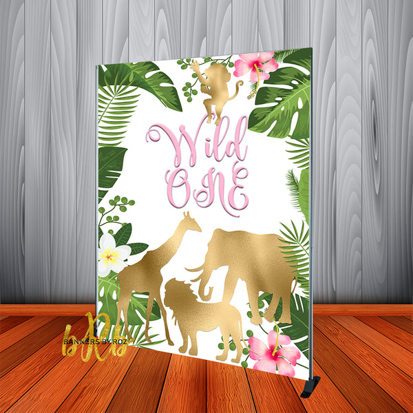 Wild One Girl's Pink Birthday Backdrop Personalized - Designed, Printed & Shipped!