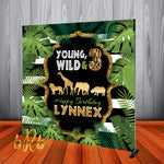 Young, Wild and 3 Safari theme Birthday Party Backdrop Personalized for 3rd Birthday - Designed, Printed & Shipped!