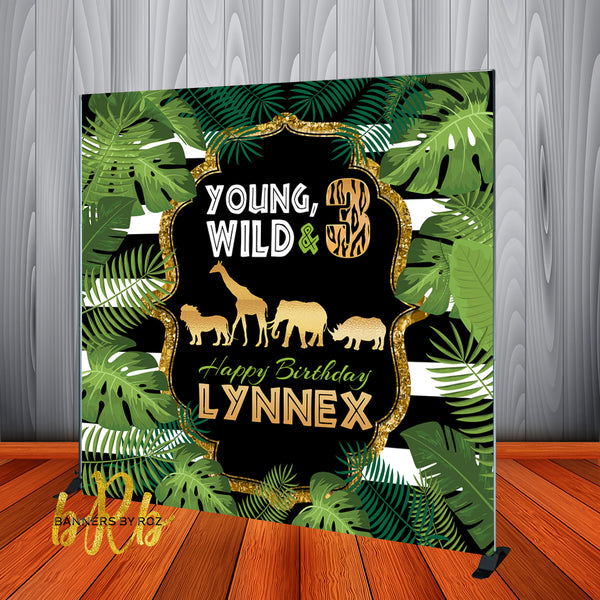Young, Wild & 3 Safari theme Birthday Backdrop Personalized - Designed, Printed & Shipped!