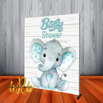 Baby Elephant Blue Teal Backdrop Personalized Step & Repeat - Designed, Printed & Shipped!