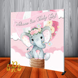 Baby Elephant Pink Hot Air Balloon Backdrop Personalized - Designed, Printed & Shipped!