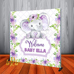 Baby Elephant Purple Backdrop Personalized Step & Repeat - Designed, Printed & Shipped!