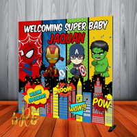 Super Heroes Babies Backdrop Personalized Step & Repeat - Designed, Printed & Shipped!