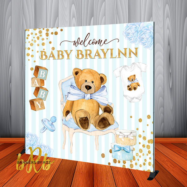 Teddy Bear big bow Backdrop Personalized, Designed, Printed & Shipped!