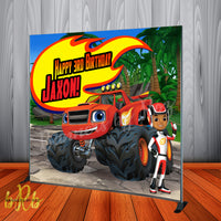 Blaze and the Monster Machines Backdrop Personalized Step & Repeat - Designed, Printed & Shipped!