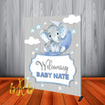 Baby Elephant Blue Backdrop Personalized Step & Repeat - Designed, Printed & Shipped!