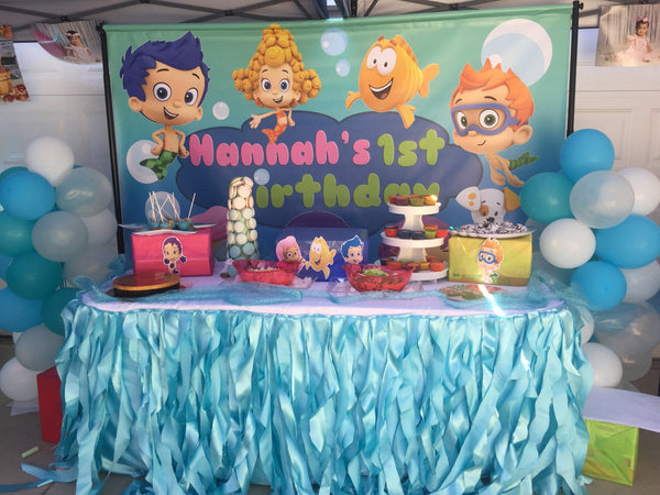 Marvelous Bubble Guppies Birthday Party Backdrop Personalized Step Repeat Birthday Cards Printable Trancafe Filternl