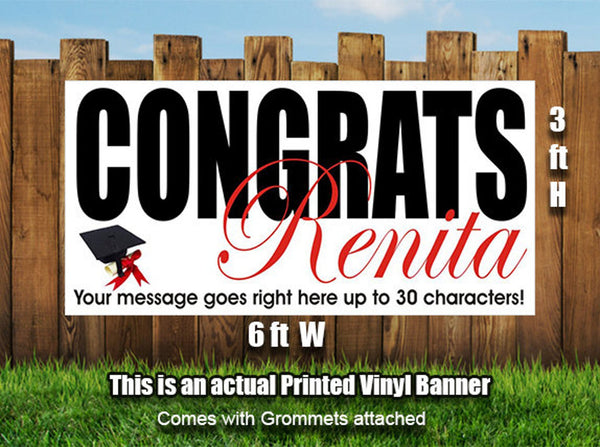 Personalized Graduation Banner Heavyweight Vinyl - Designed, Printed & Shipped!