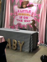 Cowboy Western Pink Rodeo theme Backdrop Personalized - Designed, Printed & Shipped!