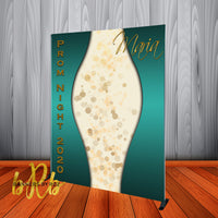 Prom Photo Backdrop - Curves Green Personalized - Step & Repeat - Designed, Printed & Shipped!