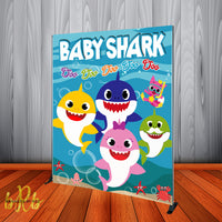 Baby Shark Party Backdrop Personalized Step & Repeat - Designed, Printed & Shipped!