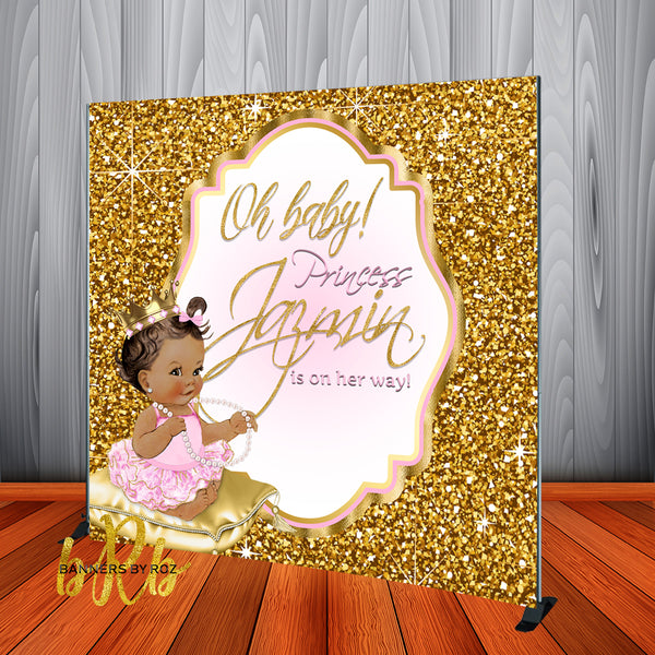 Royal Pink Princess Baby Shower Backdrop Personalized Step & Repeat - Designed, Printed & Shipped!