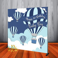 Hot Air Balloons Backdrop Personalized Step & Repeat - Designed, Printed & Shipped!