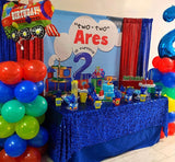Two Two Train Birthday Party Backdrop Personalized Step & Repeat - Designed, Printed & Shipped!