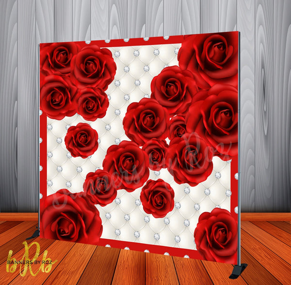 Red Roses Floral Backdrop- Step & Repeat - Designed, Printed & Shipped!