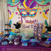 Mardi Gras Masquerade Backdrop - Step & Repeat - Designed, Printed & Shipped!