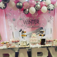 Winter Wonderland Pink Backdrop Personalized - Designed, Printed & Shipped!