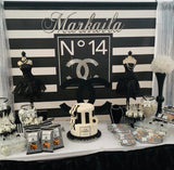 Chanel Inspired Backdrop Silver accent - Step & Repeat - Designed, Printed & Shipped!