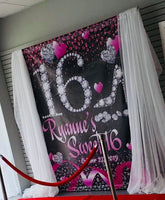 Sweet 16, 15 or 13th Backdrop for Birthday, Prom, Quinceañera - Designed, Printed & Shipped!
