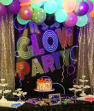 Glow Party Backdrop Personalized Neon Glow Banner - Designed, Printed & Shipped!