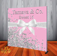 Tiffany and Co. Inspired Pink Backdrop- Step & Repeat - Designed, Printed & Shipped!
