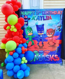 PJ Masks Birthday Backdrop Personalized Step & Repeat - Designed, Printed & Shipped!
