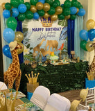 Blue Prince Safari theme Backdrop for Baby Shower or Birthday - Designed, Printed & Shipped!