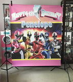 Pink Power Rangers Ninja Steel Birthday Party Backdrop Personalized Printed & Shipped!