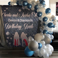 Denim & Diamonds Backdrop - Personalized - Step & Repeat - Designed, Printed & Shipped!