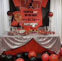 Baby Jordon Baby Shower Backdrop Personalized Step & Repeat - Designed, Printed & Shipped!
