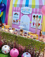 Ice Cream Parlor Shop Backdrop Personalized Step & Repeat - Designed, Printed & Shipped!