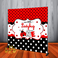 Ladybug 1st Birthday Party Backdrop Personalized Step & Repeat - Designed, Printed & Shipped!