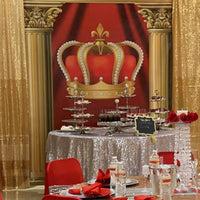 Royal Red Crown Backdrop for Red Carpet Event Personalized, Printed & Shipped!