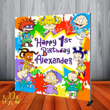 Rugrats Color Splash Birthday Party Backdrop Personalized Step & Repeat - Designed, Printed & Shipped!