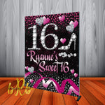 Pink Diamonds Backdrop for Sweet 16, 15 or 13th Birthday,  Prom, Quinceanera or any Special Event Designed, Printed & Shipped!