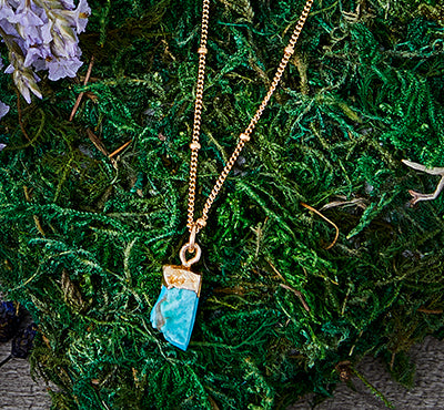 Raw Turquoise Treasure Necklace 14k – Floridian Ocean Jewelry