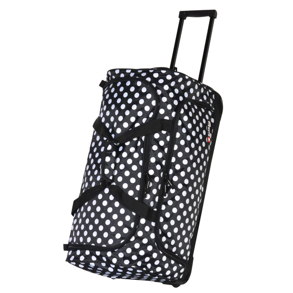 black dot fashion rolling duffel bag