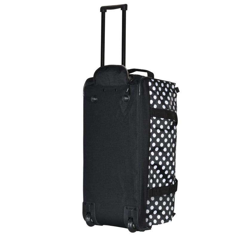 black dotted rolling duffel bag