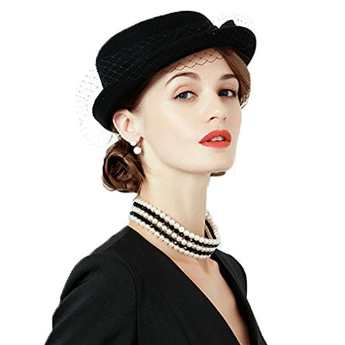 edc9885c79725 Dovaly Womens Fascinators Winter British Vintage Wool Felt Hat Veil Short  Brim Fedora ...