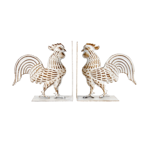 French Country Rooster Bookends - Farmhouse and Hound
